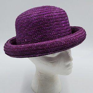 Bowler / Bucket –Style Vintage Purple Straw Hat